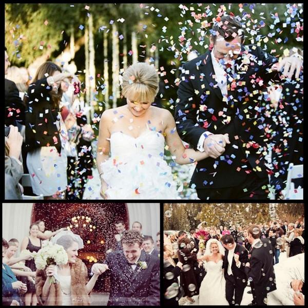 Confetti Bubbles Rice At Wedding Ceremony